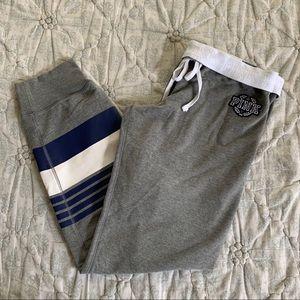 VS PINK Gym Pant Sweats, Gray w/ Navy, Size L, NWT